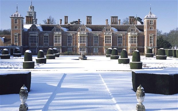 Blickling Hall, Norfolk in snow, very neat untouched snow