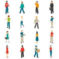 People Isometric Icons Set vector art illustration