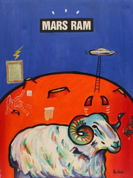 """""""Mars Ram"""" Palindrome painting by Ann Gadd"""