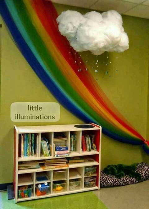 Cloud and rainbow reading corner how inviting