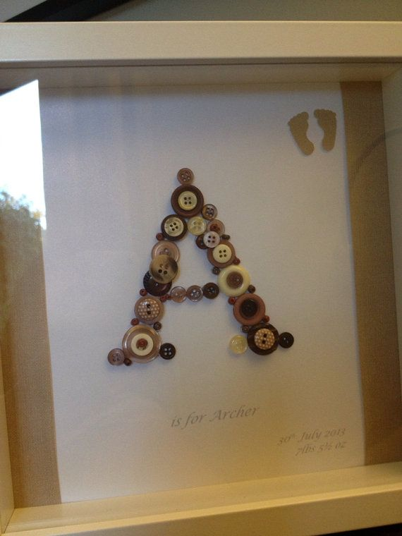 Personalised Baby Christening/New arrival gift. Button Monogram in box frame on Etsy, £20.00