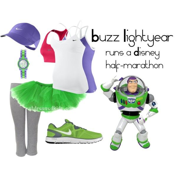 Buzz runs Disney half-marathon, created by angiodancer on Polyvore. MouseTalesTravel.com  #MTT #rundisney #fitmouse #getfit