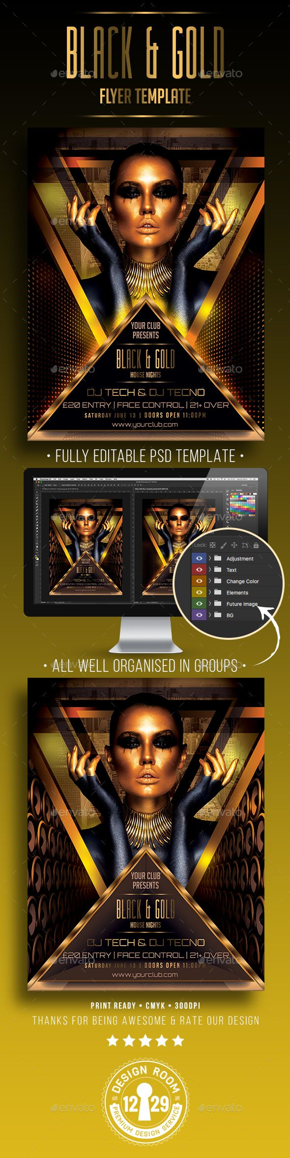 Black & Gold Flyer Template - Clubs & Parties Events