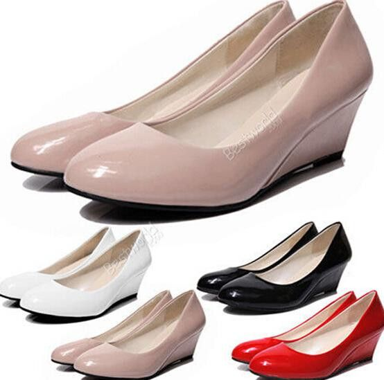 Women's Casual Patent Office Fashion Wedged Heel Work Party Court PU Leather Shoes Ex14 Free Shipping