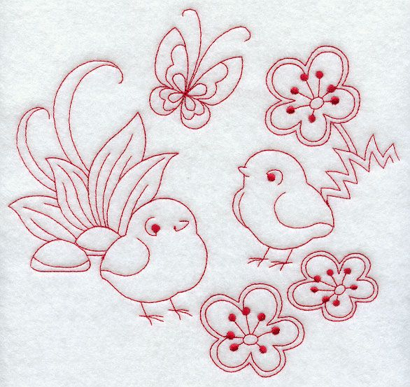 Spring Chicks (Redwork)