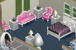 Includes: Bed, Chairs(2), Love seat, Endtable, Egg Chair.  Found in TSR Category 'Bedrooms'