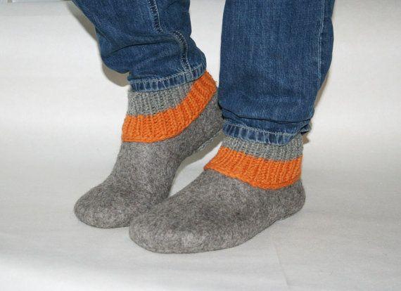Handmade felted slippers for men ECO wool orange gift by kadabros,