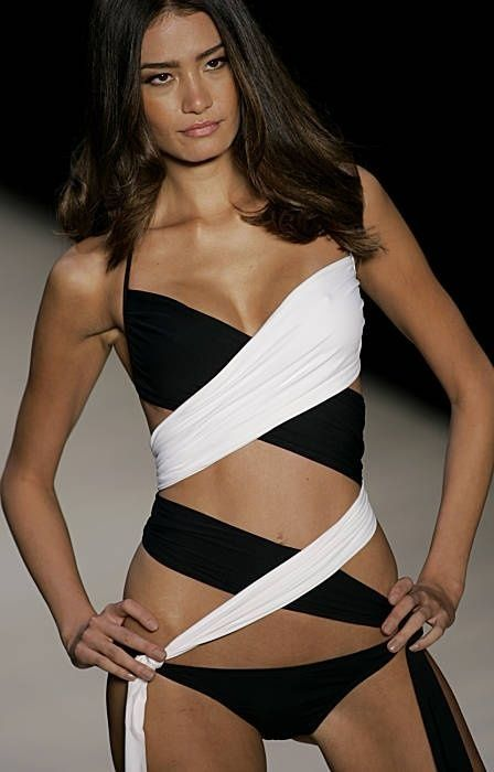 "Runway Bikini black and white ""Twist"" by Maka Nani. Follow RUSHWORLD! We're on the hunt for everything you'll love!"