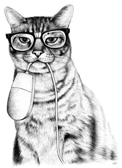 Dibujo gato hipster gafapasta con ratón de ordenador: