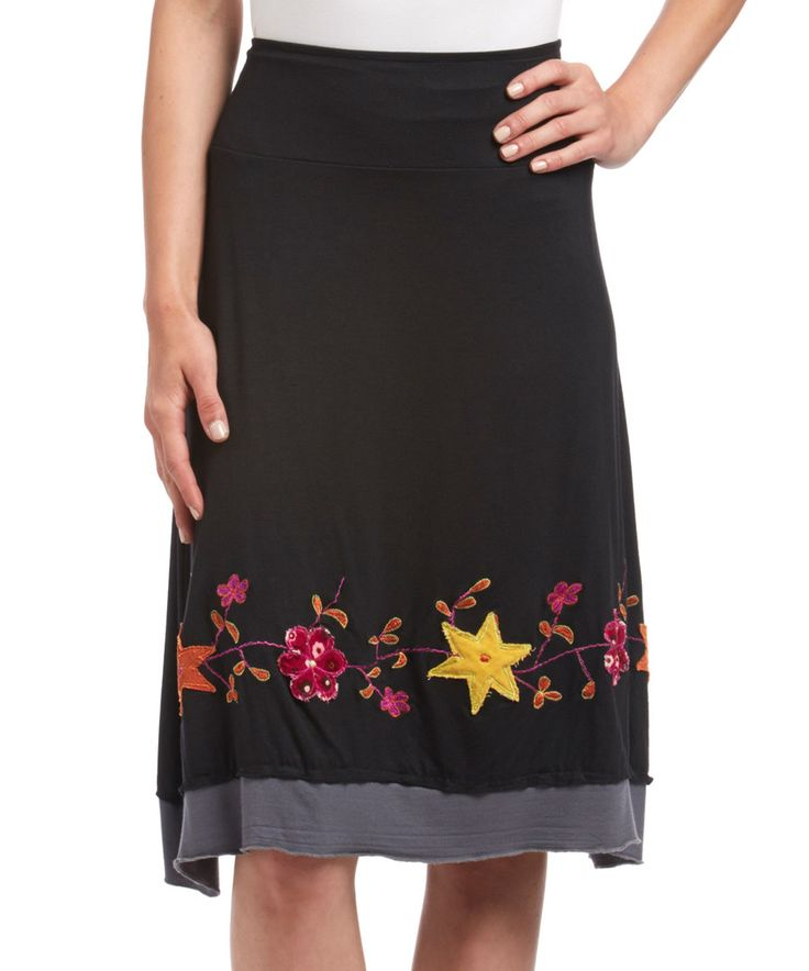 Look at this Windhorse Black Floral Embroidered Midi Skirt on #zulily today!