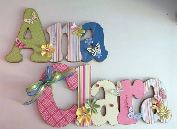 25 melhores ideias sobre decorar letras de madeira no - Letras para decorar habitacion infantil ...