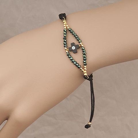 Handmade Black Bracelet With Green Crystals