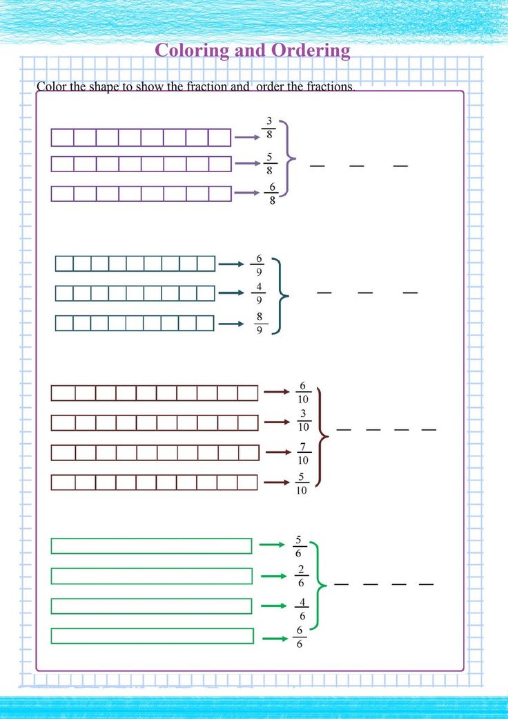 Ordering Fractions Visually Free Math Worksheets in 2020