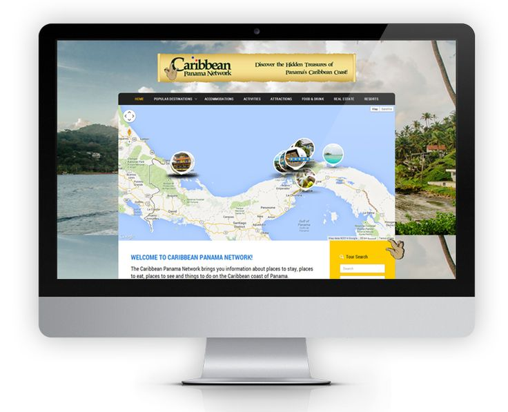 The Caribbean Panama Network website features an interactive map showing all the different tourist attractions that can be found along the Caribbean Coast of Panama.  The map markers are customized to show a clickable preview image along with a 5 star review rating system.  Each business listing on Caribbean Panama Network includes a photo slideshow, social media shares and a map showing other attractions nearby.