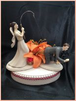 Bride Fishing for Groom with Tiger Lilies Cake Topper