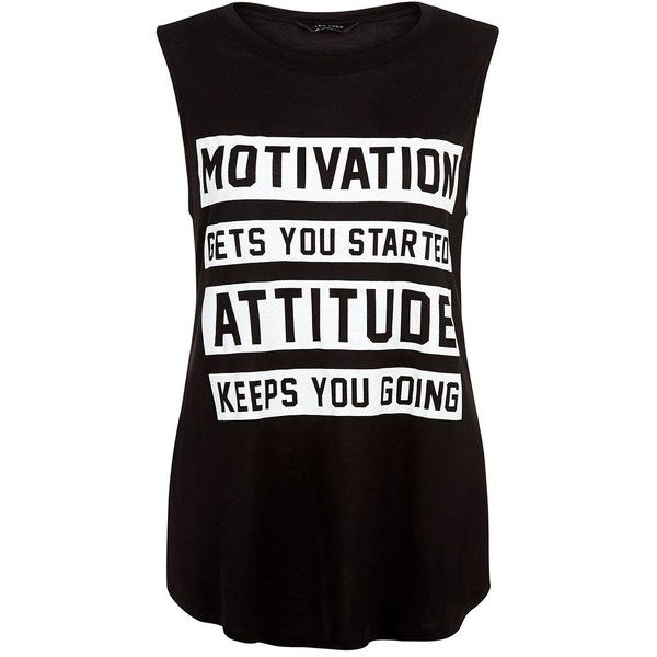 Black Motivation Slogan Sports Tank Top ($10) ❤ liked on Polyvore featuring tops, shirts, tank tops, tanks, sleeveless shirts, black sleeveless shirt, sports shirts, sport shirts and black shirt