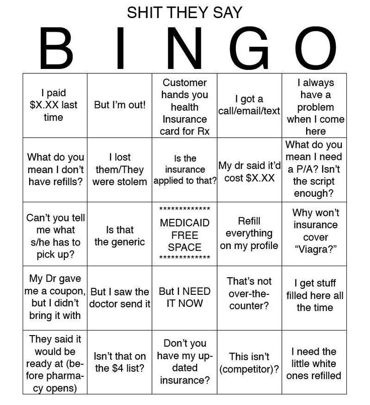 Bingo card/the famous things you ere working in a pharmacy