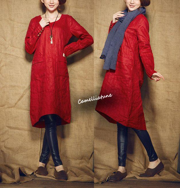 Red Tunic Dress / Longsleeve winter linen dress shirt dress