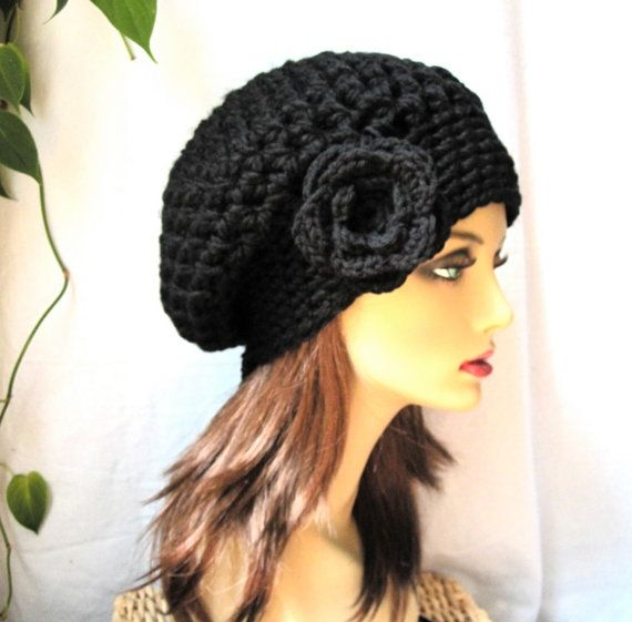 SALE Black Slouchy Beret, Womens Hat, Chunky, Flower, Head Cover, Teens, City Hat, Birthday Gifts, Gifts for Her, JE410BESF