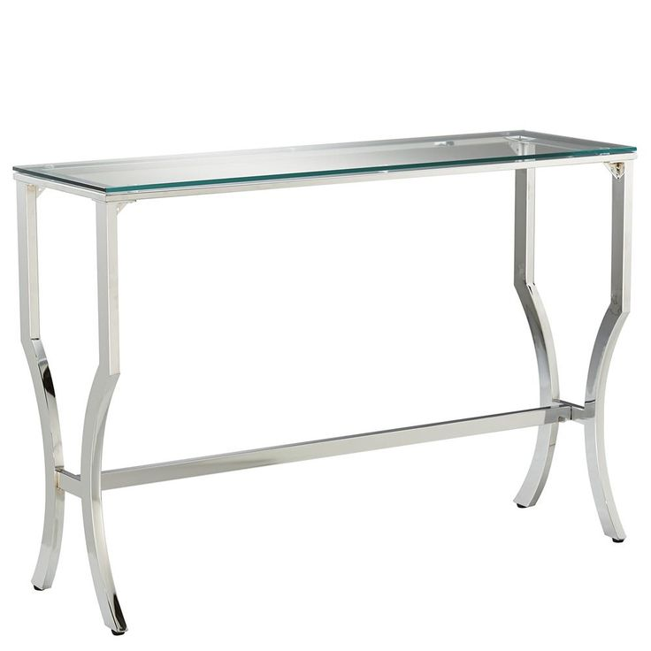 Console Table with Tempered Glass Top and Chrome Base/CONSOLES AND DINING TABLES/FURNITURE|Bouclair.com 110cm(w) x 75cm(h) x 35cm(d) $219.99