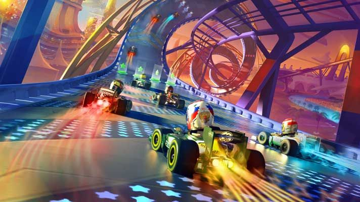 The Formula One goes Super Mario Kart in brand new arcade game.   http://www.topgear.com/uk/car-news/formula-one-race-stars-game-2012-07-13#