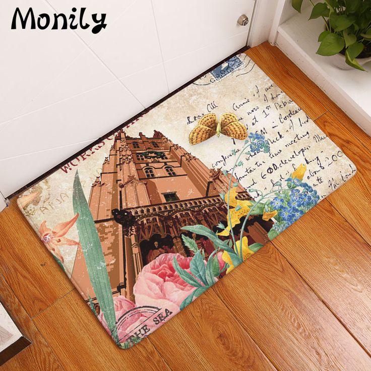 Monily Anti-Slip Floor Mat Waterproof Vintage Cartoon Flower Building Carpet Bedroom Rug Decorative Stair Mats Home Decor Crafts