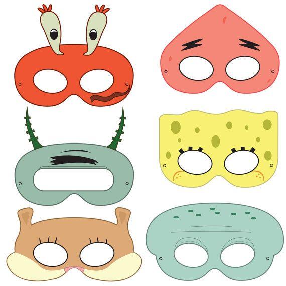 SpongeBob SquarePants Inspired Character Printable Masks. Máscaras recortables para descargar de Bob Esponja y sus amigos.
