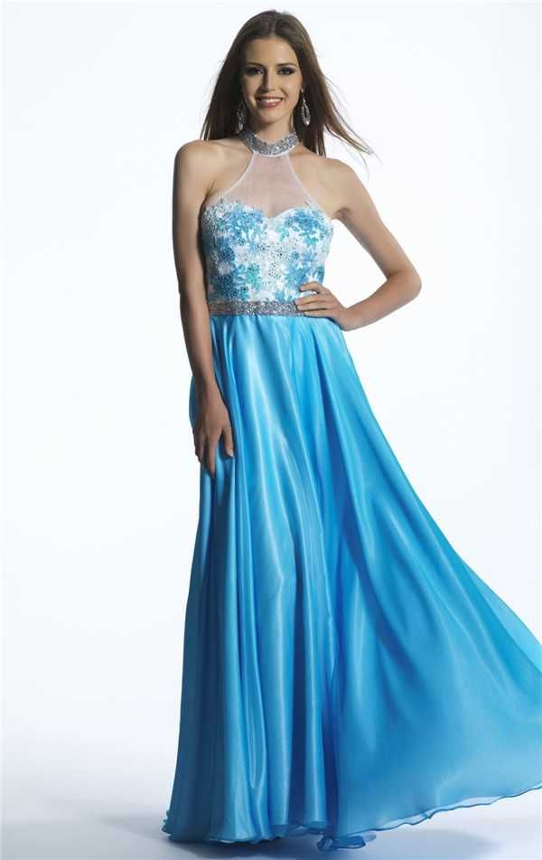 Blue Long Dave and Johnny 1168 Prom Dresses with Halter Neck Discount