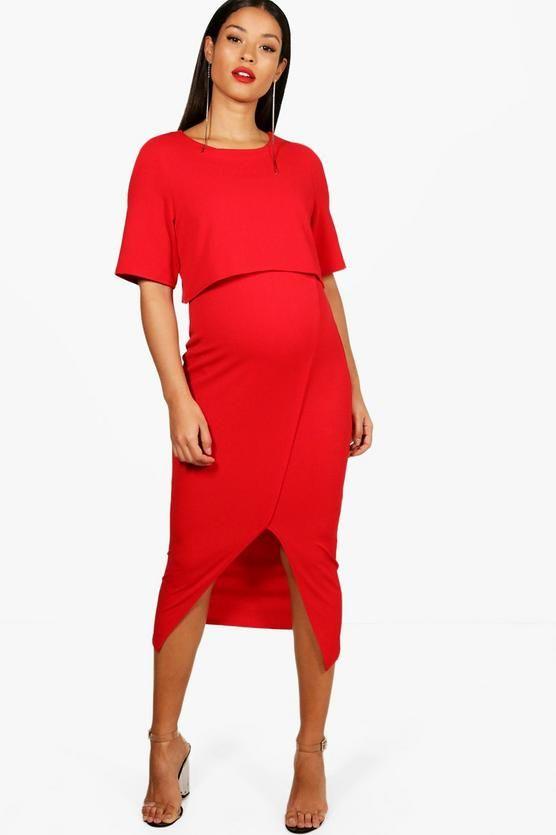 392c9260e0 Maternity Danielle Layered Wrap Midi Dress