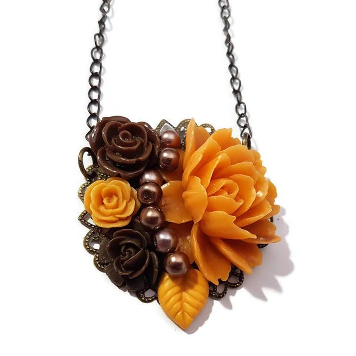 Flower Necklace-Medallion Necklace-Orange Necklace-Rose Necklace-Pearl Necklace-Bridesmaid Gift-Mothers Day-Brown Jewelry-Flower Pendant