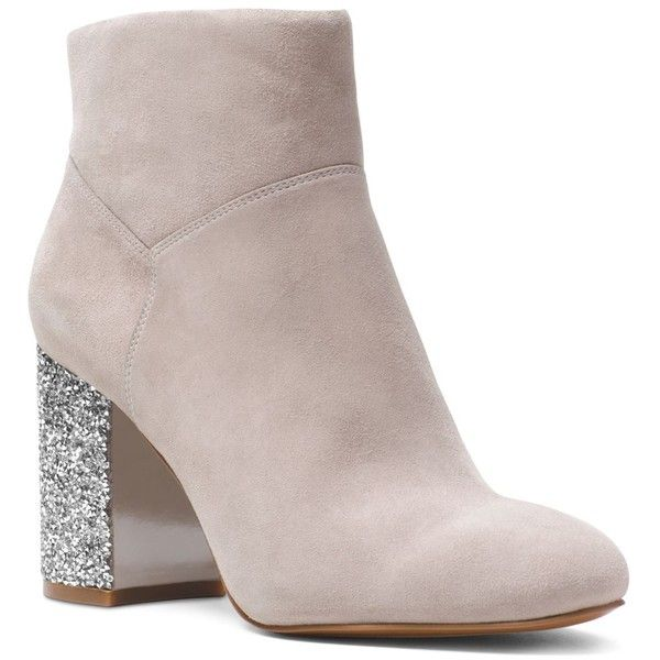 Michael Michael Kors Women's Cher Suede Booties (€160) ❤ liked on Polyvore featuring shoes, boots, ankle booties, pearl gray, grey suede boots, faux suede booties, gray boots, faux-fur boots and suede boots