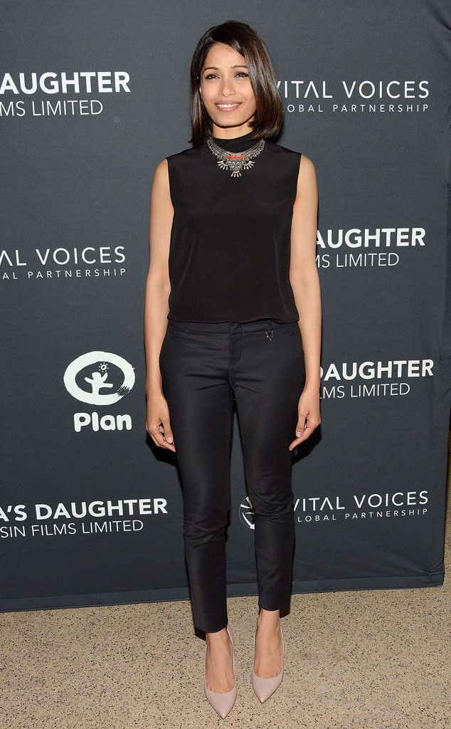Freida Pinto from The Best of the Red Carpet  Take not ladies—this is how simple sophistication is done! The actress sports an all-black ensemble with a statement necklace and nude pumps at the India's Daughter screening in New York City.
