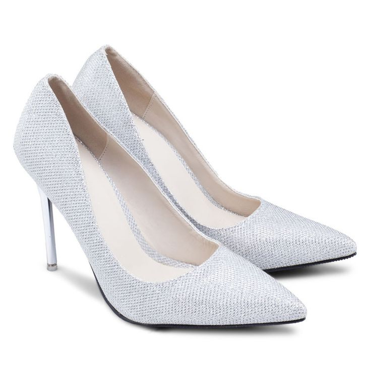 Pointed Heel Pumps by Something Borrowed, pointed heels with glitter details, made from good material, this silver heels sure look so gorgeous. Pair this gorgeous heels with bodycon skirt or a pants for a casual or formal look. http://www.zocko.com/z/JJvrs