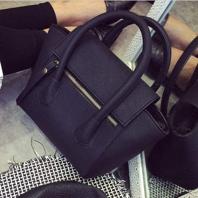 2016 Nieuwe Vrouwen Tassen Bat Bag Zwart Retro Eenvoudige Lichee Vrouwen Schoudertas Vrouwelijke Messengar Tassen dames tassen malas de mulher sac