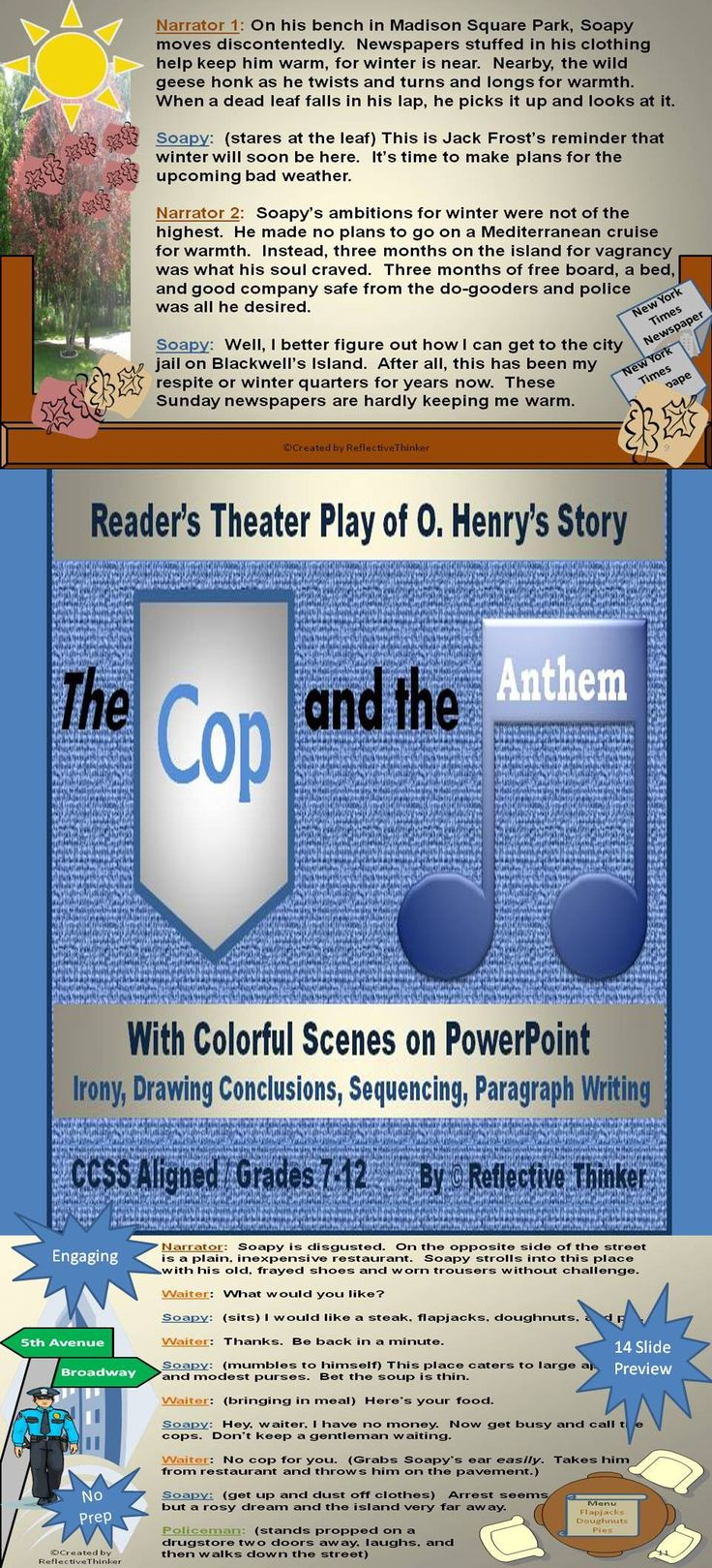 best ideas about irony examples funny teachers humorous and ironic no prep reader s theater play the cop and the anthem