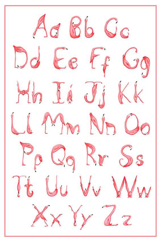 Alphabet ABC Flamant rose Affiche Dessin par AmelieCardsandPrints