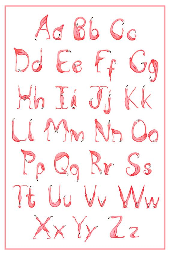 Alphabet ABC Pink Flamingo Art Print Drawing by AmelieLegault