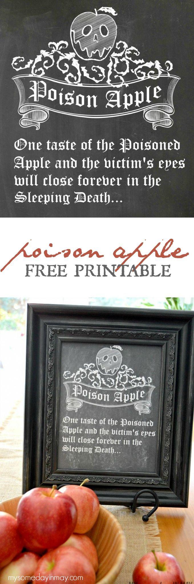Adorable & Spooky Poison Apple Free Printable