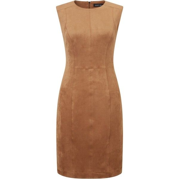 Marc Cain Sleeveless Suedette Dress, Brown (16.190 RUB) ❤ liked on Polyvore featuring dresses, brown maxi dress, brown bodycon dress, long-sleeve mini dress, bodycon dress and bodycon midi dress