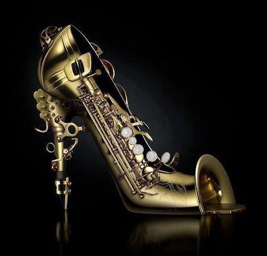 Saxophone High Heels. Would be so cool if it actually played different notes according to how heavy your step!