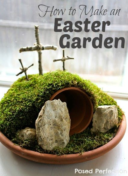 How to Make an Easter Garden by Posed Perfection #Easter #craft #mosscraft #faith