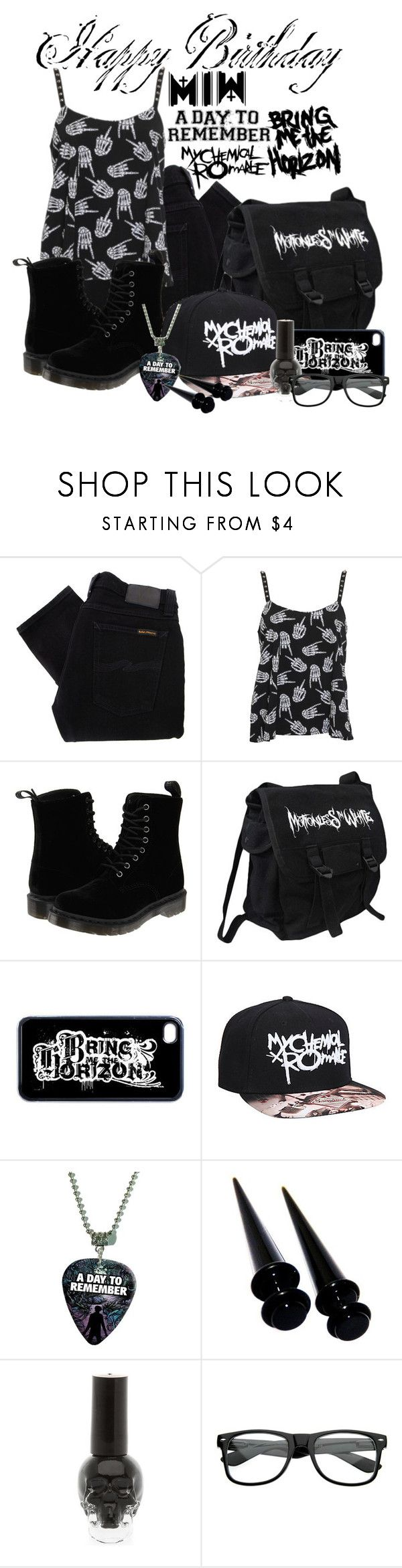 """""""Something small for my b-day, mim bmth mcr adtr"""" by zombielover100 ❤ liked on Polyvore featuring Nudie Jeans Co., Rat Baby, Dr. Martens and ZeroUV"""