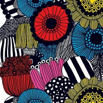 Latest Designer Fabric 'Siirtolapuutarha Coated Fabric in Yellow, Red and Black' by Marimekko (FIN). Buy online or visti our fabric retail store in Christchurch.