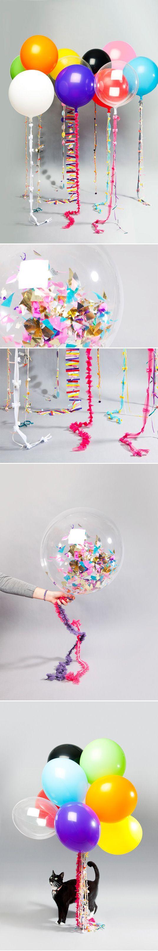 DIY Ballonnen ideeën voor de Feestdagen o.a. Oud & Nieuw. Met Confetti en Tasselslingers www.pretapret.nl