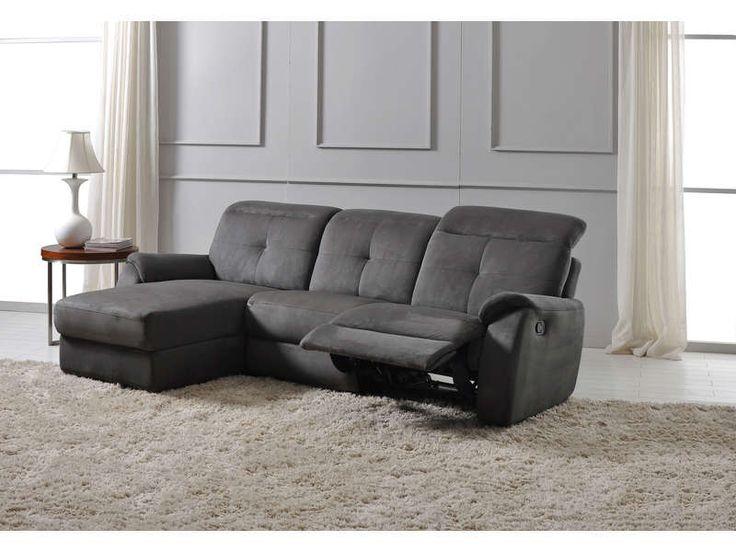 Canapé d'angle relax manuel 3 pl ROSS anthracite prix promo Canapé Conforama pas cher 1 159.00 €