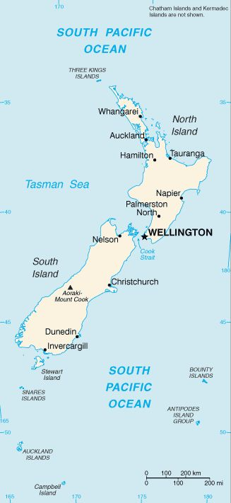 Country Maps: Map of New Zealand