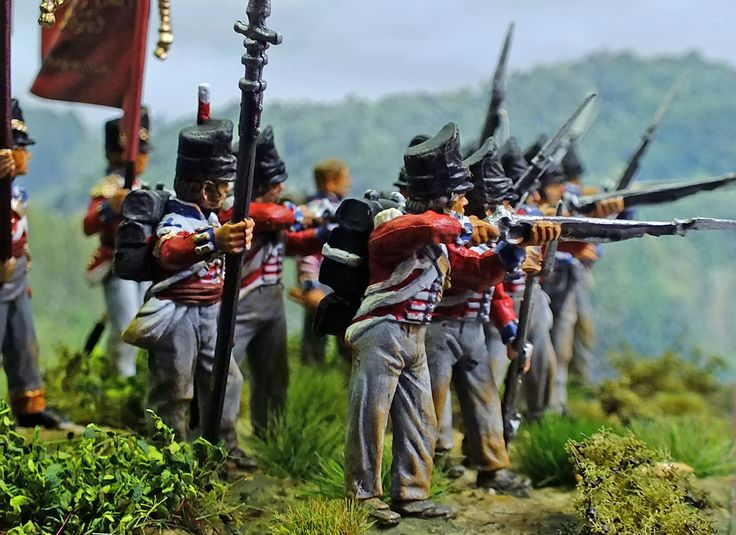 My version of the 8th Company, 3rd Battalion of the 1st Regiment of Foot Guards 1815. Painted by Bob Hornsby