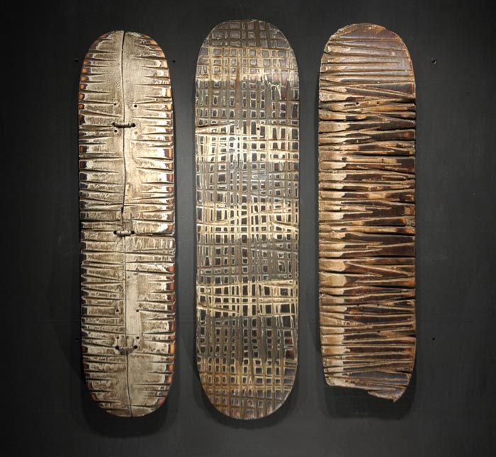 #recycled skateboard sculpture by George Peterson. I HOPE MY HUSBAND SEES THIS!