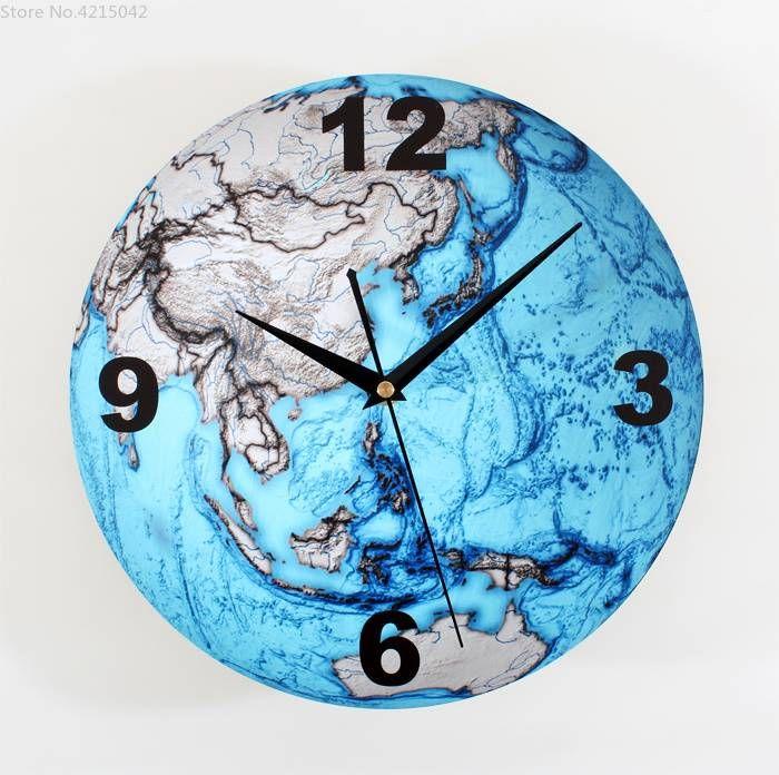Beautiful Blue Earth 3d Wall Clocks Fashion Creative Arts Planet Earth Wall Clock Bell Map Wall Watch Wall Clock Modern Des Wall Clock Modern Wall Clock Clock