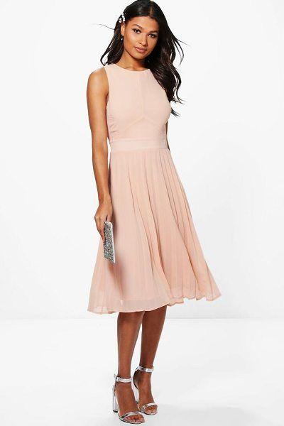 7a60d27e09c8 Kiki chiffon pleated skirt midi skater dress by Boohoo #boohoo #dresses